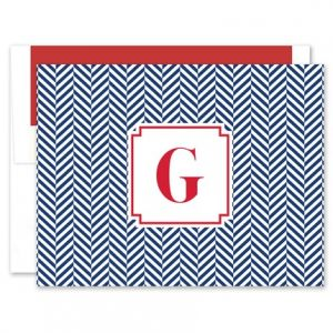Navy Herringbone Note Card