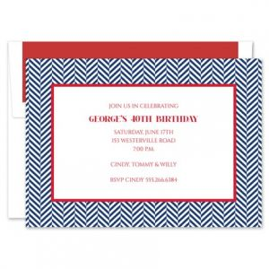 Navy Herringbone Invitation
