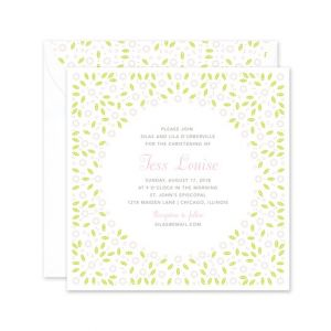 Green Posies Invitation