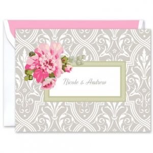 Damask Floral Note Card