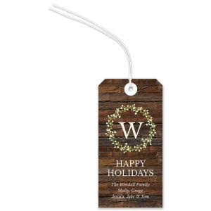 Monogram Wreath Gift Tag