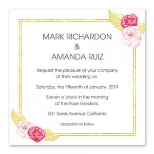 Golden Floral Invitation