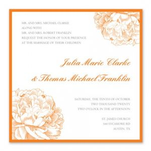 Orange Floral Invitation