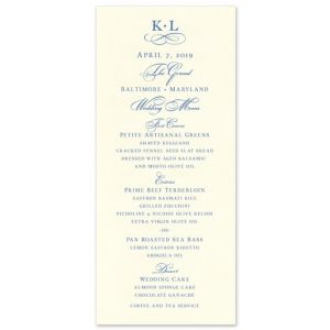 Ecru Menu Card