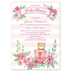 Pink Book Shower Invitation