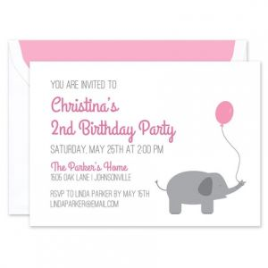 Pink Balloon Invitation
