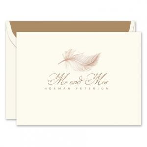 Rose Gold Feather Note Card