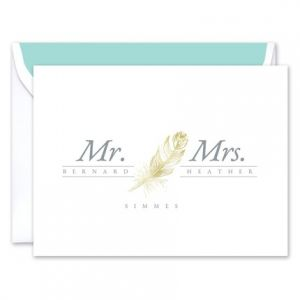 Golden Feather Note Card
