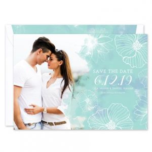 Teal Floral Save the Date
