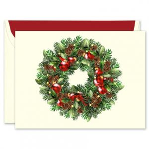 Personalized christmas cards xmas fine stationery classic wreath greeting card m4hsunfo