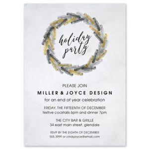Metallic Wreath Invitation