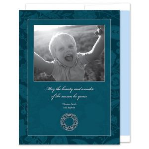 Paisley Blue Photo Card