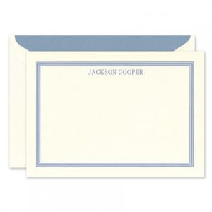 Blue Border Ecru Flat Card