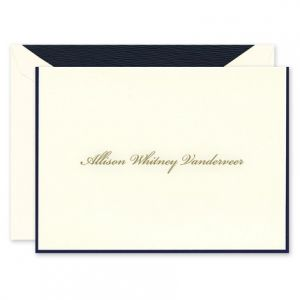 Navy Border Note Card