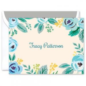 Blue Floral Note Card
