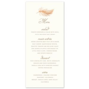 Rose Gold Feather Menu Card