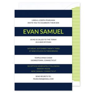 Navy Rugby Stripe Invitation