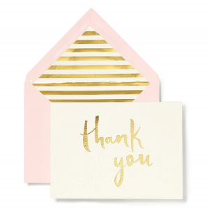 Paint Brush (Blush with Gold) Thank You Notecard Set