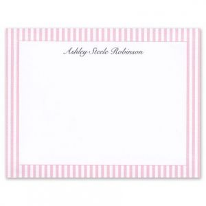 Pink Seersucker Flat Card