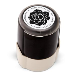 Rose Round Custom Address Stamp