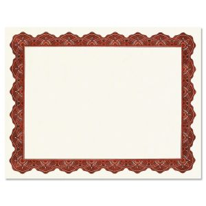 Majestic Maroon Certificate Paper on White Parchment