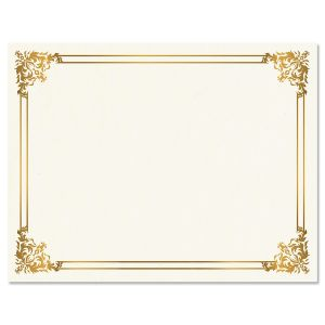 Empire Gold Certificate Paper on White Parchment