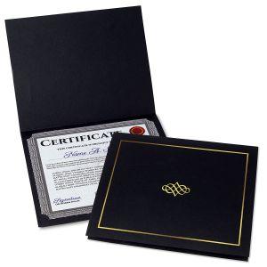 Ornate Black Certificate Jacket with Gold Border/Crest