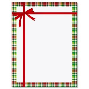 Tied Tartan Bow Letter Papers