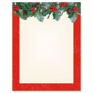 Red Winter Filigree Letter Papers