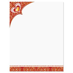 Golden Heart & Flourishes Letter Papers