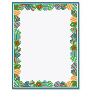 Blue Frame Easter Eggs Letter Papers