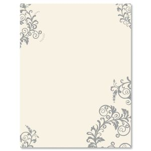 Gray Flourish Letter Papers
