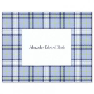 Blue Plaid Note Card