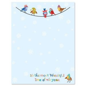 Snowflakes and Birds Letter Papers