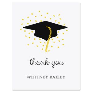 Confetti and Cap Graduation Thank You Note Cards