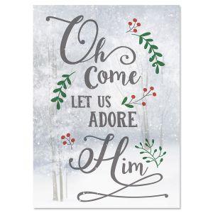 O Come Adore Christmas Cards