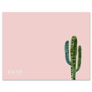 Watercolor Cactus Initial Note Cards