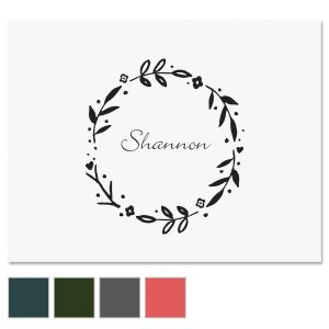 Floral Shield Wreath Note Cards
