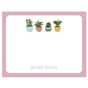 Pink Border Succulents Note Cards