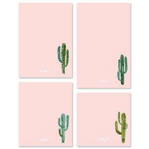 Watercolor Cactus Initial Note Pad Sets
