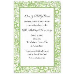 Green Paisley Invitation