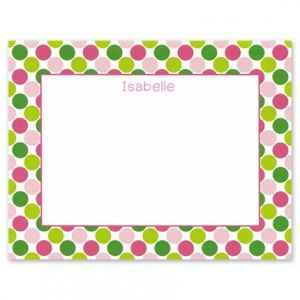 Pink & Green Dots Flat Card
