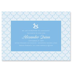 Blue Scalloped Birth Announcement