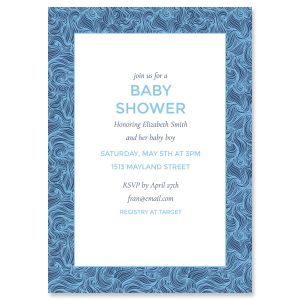 Blue Wave Frame Shower Invitations
