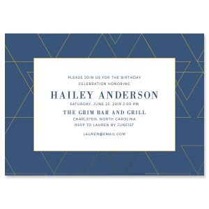 Posh Navy Geometric Invitations