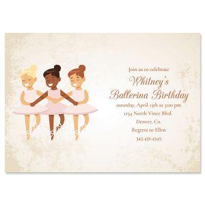 Ballerina Dancers Birthday Invitations