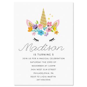 Bashful Unicorn Birthday Invitations