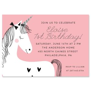 Simple Unicorn Birthday Invitations
