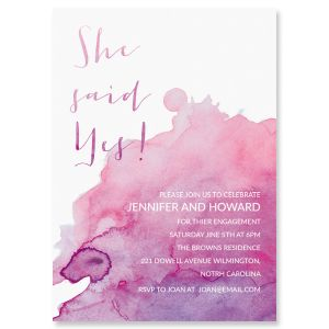 She said yes Watercolor Engagement Invitations