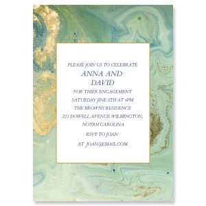 Teal and Gold Agate Invitations
